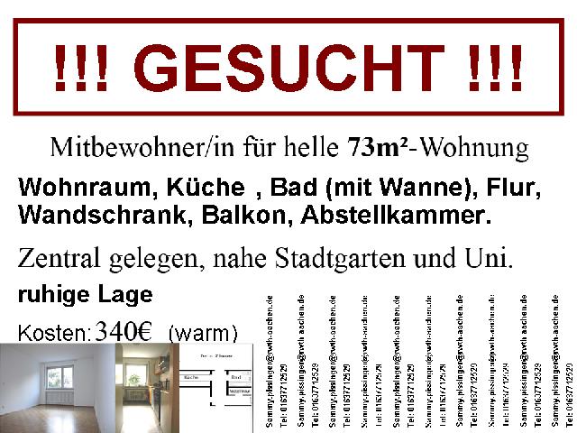 Wg aachen zentrum rochusstrasse 62 studenten for Wohnung vermieten